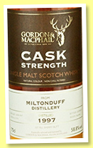 Miltonduff 1997/2017 (58.8%, Gordon & MacPhail, Cask Strength, 1st Fill Sherry Butt, cask #9179)