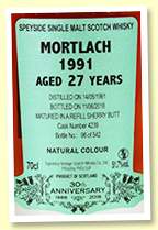Mortlach 27 yo 1991/2018 (51.7%, Signatory Vintage 30th Anniversary, cask #4239, refill sherry butt, 542 bottles)