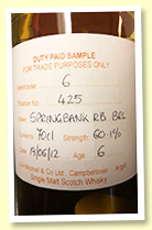 Springbank 6 yo 2012/2019 (60.1%, OB Cage Bottle, refill barrel, 1 bottles)