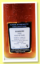 Bowmore 40 yo 1970/2010 (43.2%, Signatory Vintage, first fill oloroso sherry butt, cask #4467, 489 bottles)