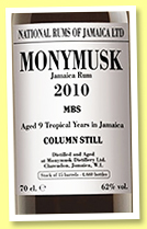 Monymusk 9 yo 2010/2019 (62%, National Rums of Jamaica, Velier and LMDW, MBS, 4,660 bottles)