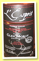 Glen Moray 2007/2017 (61.7%, L'Esprit, bourbon, cask #5719, 194 bottles)