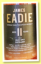 Glen Spey 11 yo 2007/2019 (58.9%, James Eadie, PX sherry finish, cask #805410, 288 bottles)