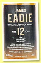 Glen Spey 12 yo 2007/2020 (60%, James Eadie, palo cortado finish, 303 bottles)