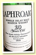 Laphroaig 10 yo (43%, OB, US import Hiram Walker, late 1980s)