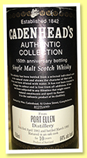 Port Ellen 10 yo 1981/1992 (64%, Cadenhead, Authentic Collection, 150th Anniversary, for Preiss Import California)