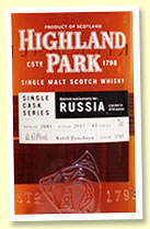 Highland Park 12 yo 2005/2017 (63.8%, OB for Russia, cask #3787, refill puncheon, 570 bottles)