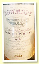 Bowmore 1956 (43%, OB for Italy, Soffiantino import, sherry, 1980s)