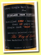 Highland Park 13yo 1992/2005 (50%, James MacArthur for The Way of Spirits)