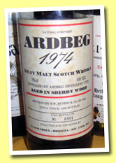 Ardbeg 1974/1983 (59%, Duthie for Samaroli, 2400 bottles, sherry)