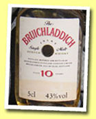 Bruichladdich 10yo (43%, red on cream label, airline plastic bottle, early 90's)