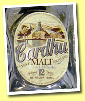 Cardhu 12yo (86 proof, OB, US, ivory label, late 1980's)