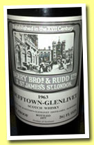 Dufftown-Glenlivet 1963/1977 (70°proof, Berry Bros & Rudd, 26 2/3 FL OZS)