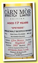 Glen Moray 17 yo 1995/2012 (46%, Carn Mor, Strictly Limited, 610 bottles)