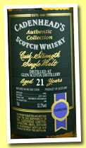 Glen Scotia 21 yo 1992/2013 (52.2%, Cadenhead, Authentic Collection, bourbon hogshead, 240 bottles)