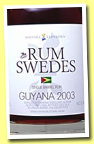 Guyana 2003/2013 (60.9%, Rum Swedes, bourbon barrel, cask #19, 230 bottles)